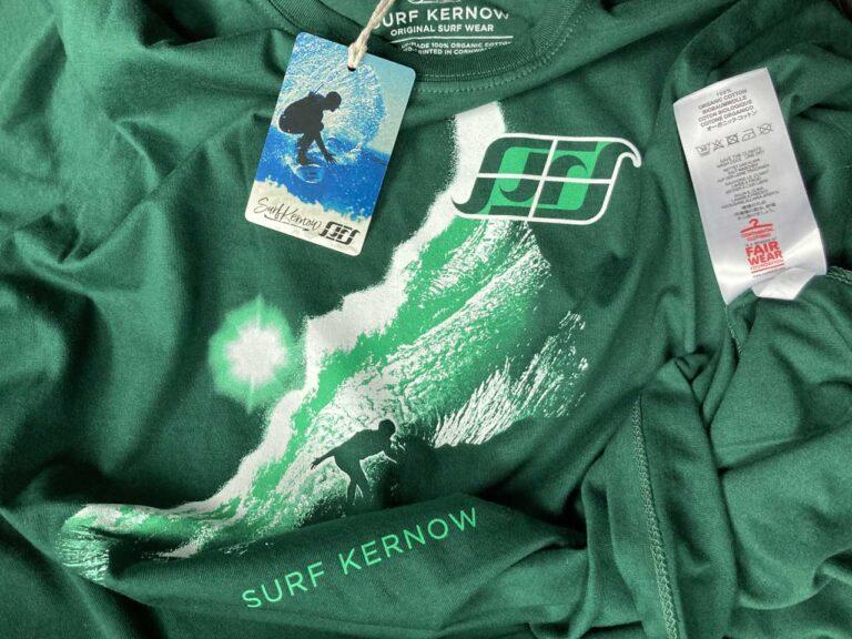 Surf Kernow organic cotton t-shirt with Fair Wear label.