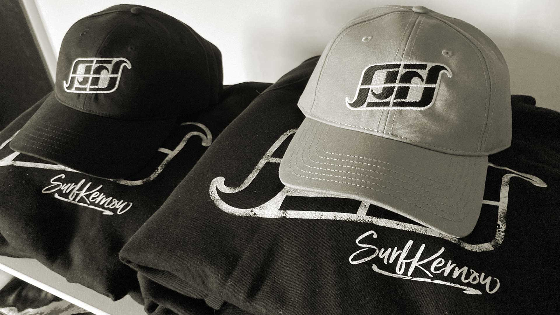 Surf Kernow shop products including organic baseball caps and hoodies.