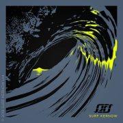 'Last Light' design on Denim Blue surf t-shirt – Depicts a fluorescent yellow sunset through a barrelling wave tube.