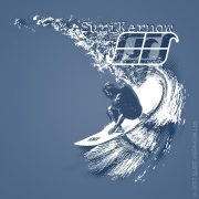 'Carve' design on Denim Blue surf t-shirt – Depicts a surfer carving down the face of an overhead wave.