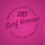 'Surf Kernow Seal' on Hot Pink surf t-shirt – Text reads: Surf Kernow Original Surf Wear, Established 2017 in Cornwall.